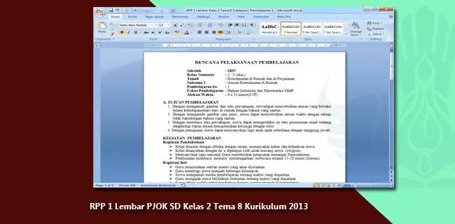 RPP 1 Lembar PJOK SD Kelas 2 Tema 8 Kurikulum 2013