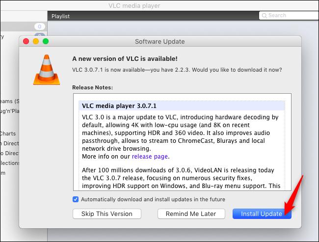 تثبيت التحديثات في VLC على ماك
