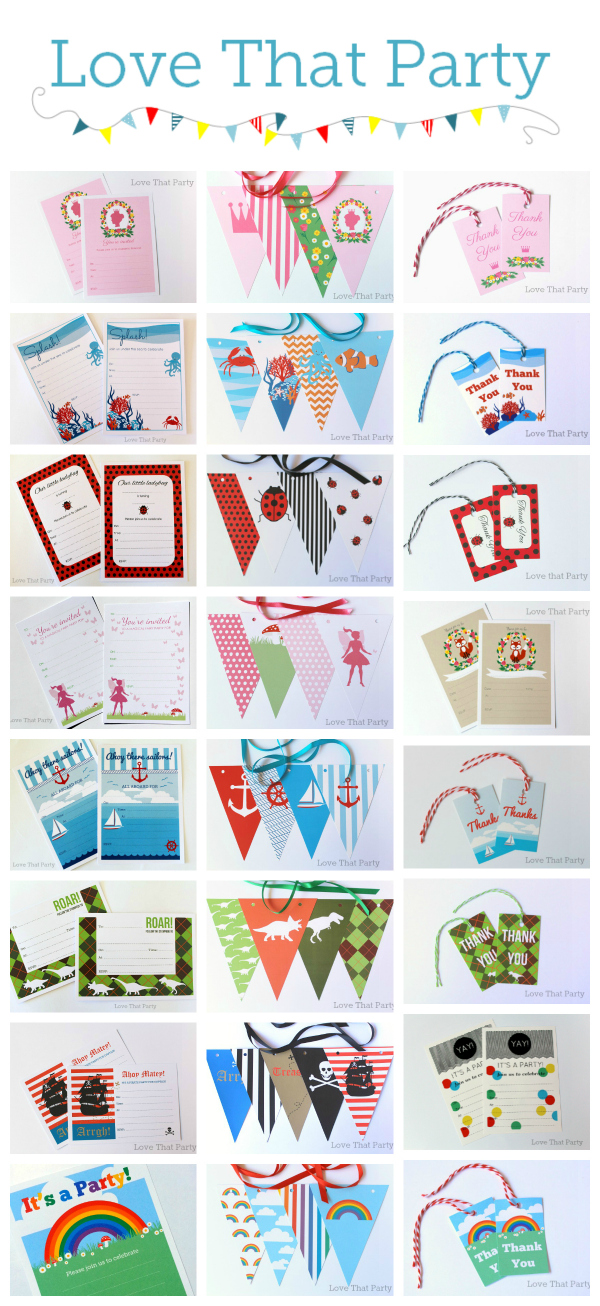 kids birthday party invitations, party decorations, bunting, gift tags, party favor, lolly bag tags, labels, kids party ideas, dinosaur, fairy, pirate, princess, rainbow, fox, ladybug, nautical, under the sea, ocean