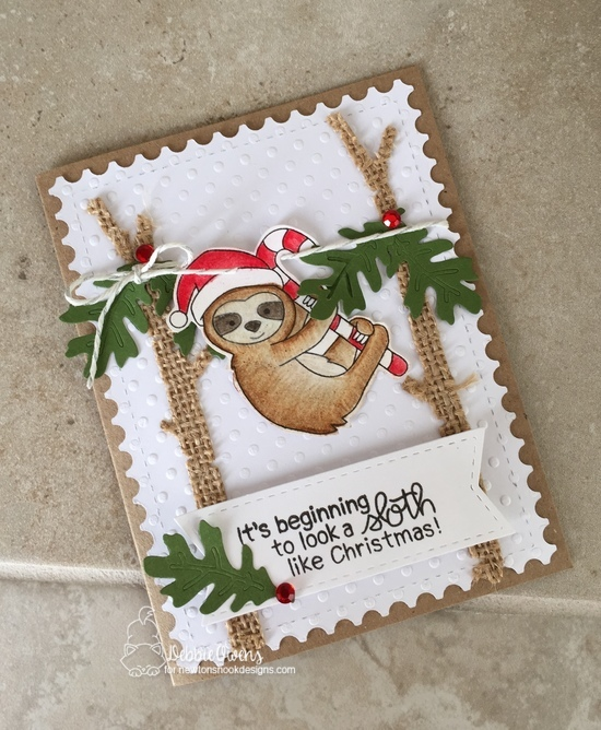 It's beginning to look a sloth like Christmas by Debbie features Slothy Christmas, Forest Scene Builder, Autumn Leaves, Frameworks, Frames & Flags by Newton's Nook Designs; #newtonsnook