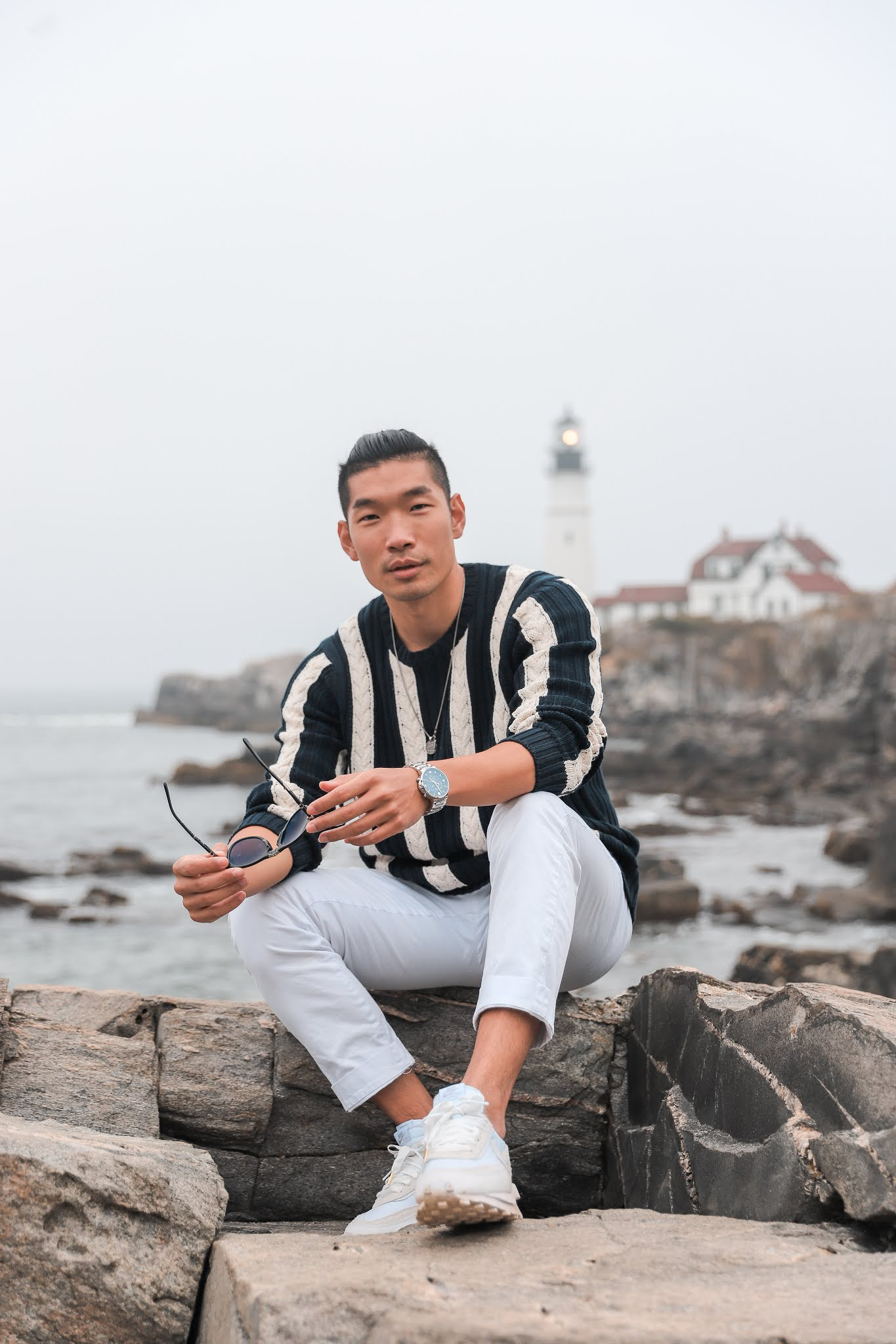 Fall Outfit Inspiration for Men 2020 | Leo Chan Cable Crewneck Sweater