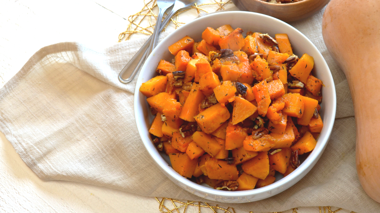 Roasted butternut with maple syrup & Pecan