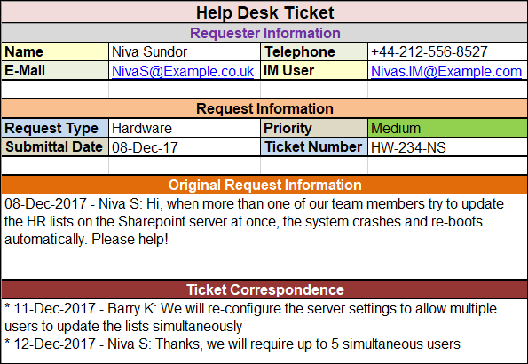 Help Desk Ticket Template - Free Project Management Templates