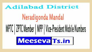 Neradigonda Mandal MPTC | ZPTC Member | MPP | Vice-President Mobile Numbers Adilabad District in Telangana State