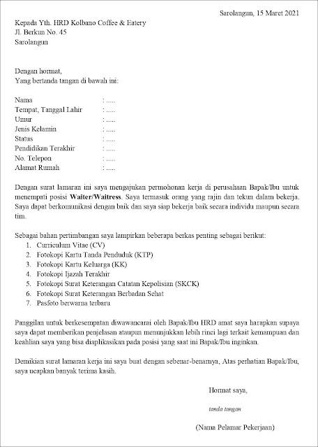 contoh application letter waiter/waitress (fresh graduate) Berdasarkan Inisiatif Sendiri