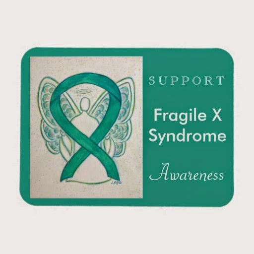 Support Fragile X Syndrome Awareness Teal Ribbon Guardian Angel Gifts Refrigerator Magnet