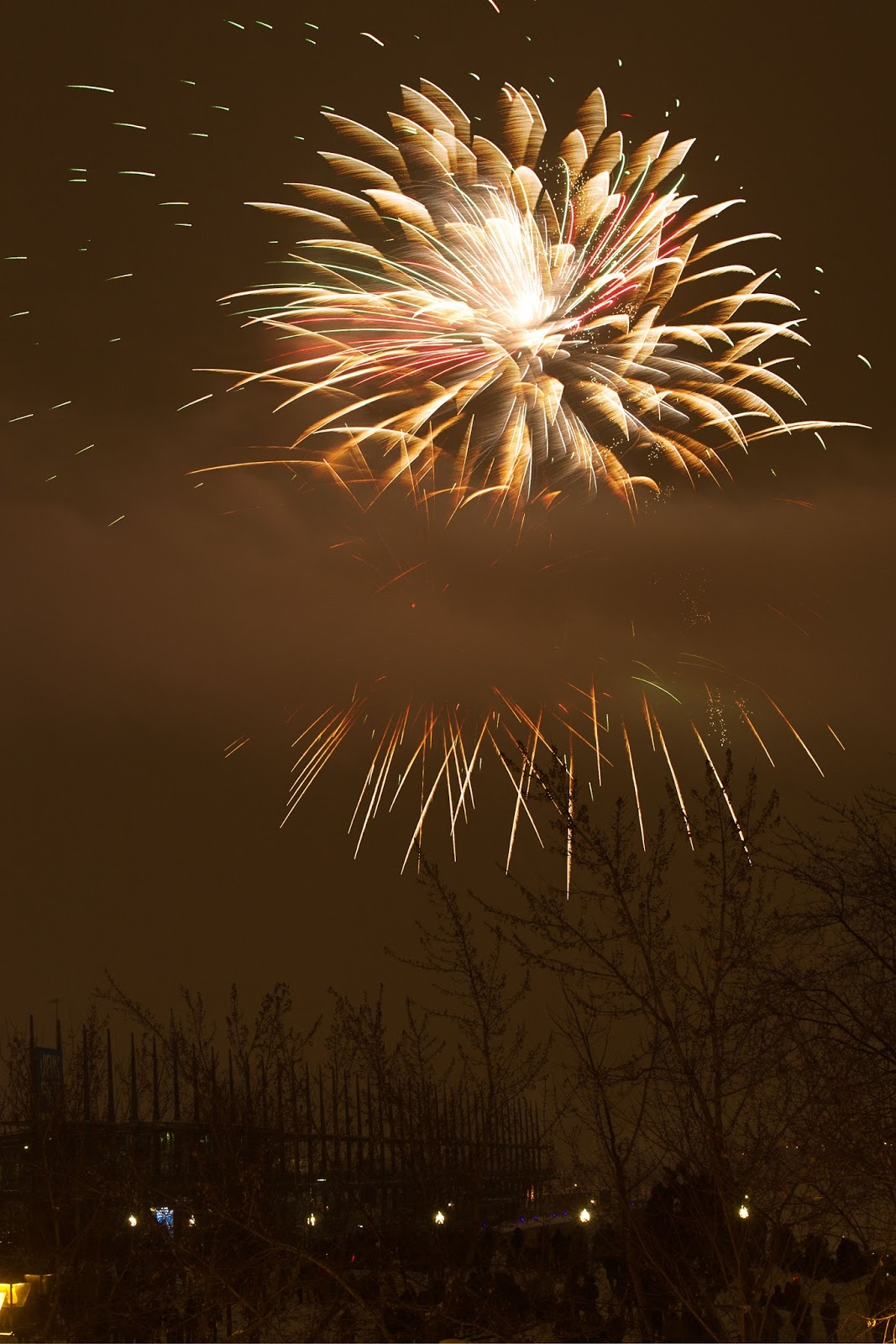 New Year's eve fireworks at Auberge du Vieux-Port in Montréal, Canada