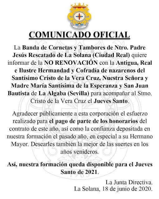 Vera-Cruz de La Algaba no renovará a su banda para la Semana Santa del 2021