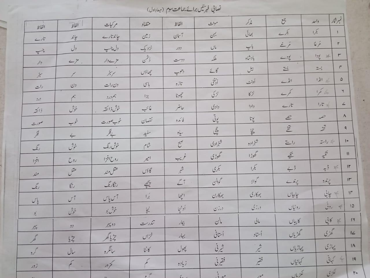 Urdu Revision Worksheet Class Test 2