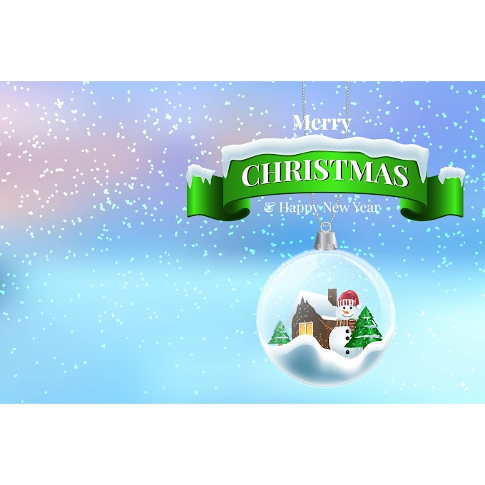 Green christmas banner and christmas crystal ball pendant vector