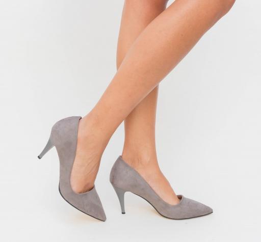 Pantofi din piele itnoara eco gri ieftini de zi