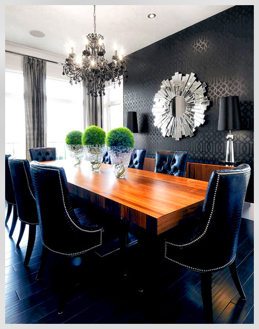 Dining room window treatments combined use of wall paper to help with darker colors