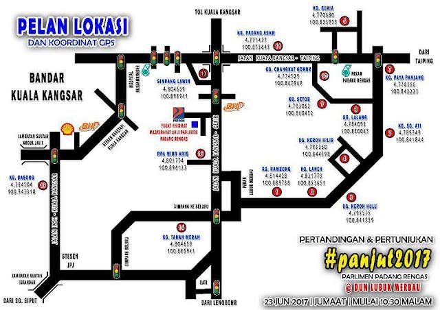 pelan lokasi Pertandingan dan Pertunjukan Panjut Di Kuala Kangsar