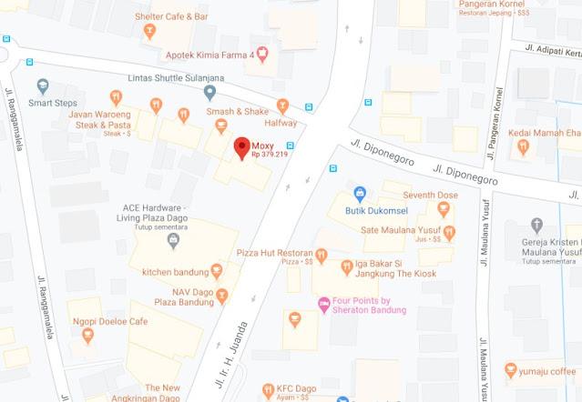 Map Letak Hotel Moxy Bandung