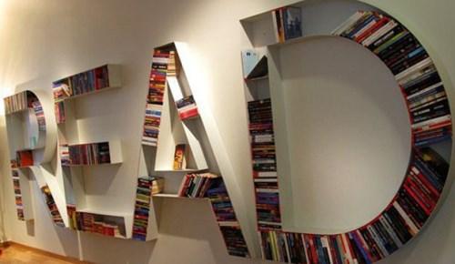 Contoh rak buku minimalis yang unik