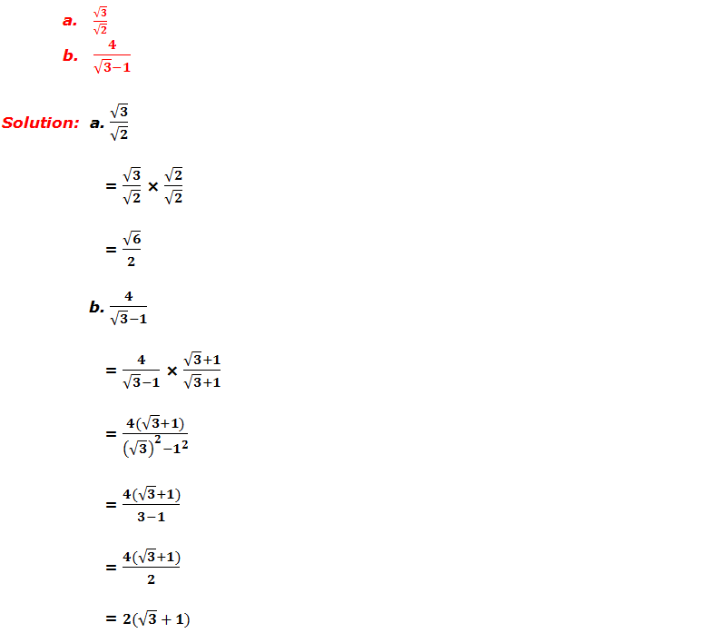 Example 3: Rationalize the denominator