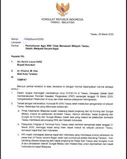 Permohonan Agar WNI Tidak Memasuki Wilayah Tawau, Sabah, Malaysia Secara Ilegal - Tarakan Info