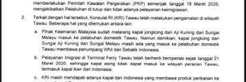 Permohonan Agar WNI Tidak Memasuki Wilayah Tawau, Sabah, Malaysia Secara Ilegal
