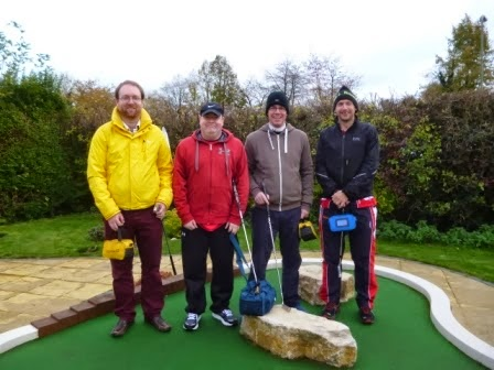 The bronze medal winning Midlands Minigolf Club A-team members at the 2013 BMGA British Minigolf Championships in Basingstoke, from l-r Mark 'The Horse Whisperer' Swain, Jon 'The Black Knight' Drexler, 'Squire' Richard Gottfried, John 'Uncle Al' Moore