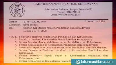 Download Kepmendikbud Nomor 719/P/2020 Tentang Pedoman Pelaksanaan Kurikulum Pada Satuan Pendidikan Dalam Kondisi Khusus