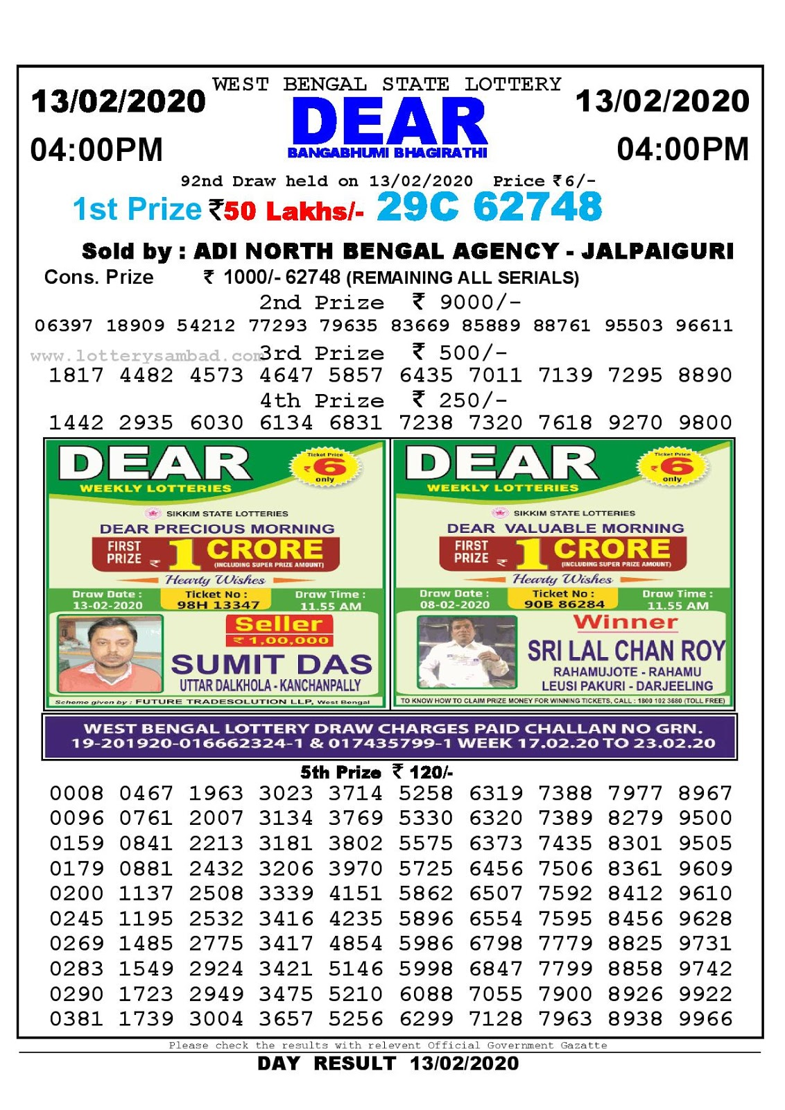 West Bengal State 13-02-2020  Lottery Sambad Result 400 PM
