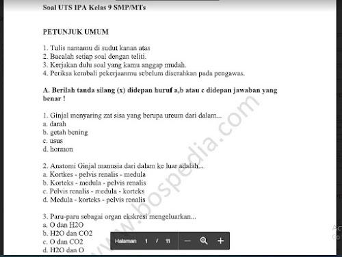 Soal PTS Ilmu Pengetahuan Alam (IPA) Kelas 9 Sem. Ganjil Kurikulum 2013