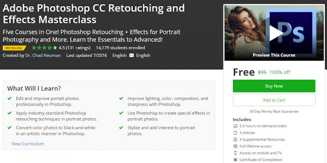 [100% Off] Adobe Photoshop CC Retouching and Effects Masterclass| Worth 95$
