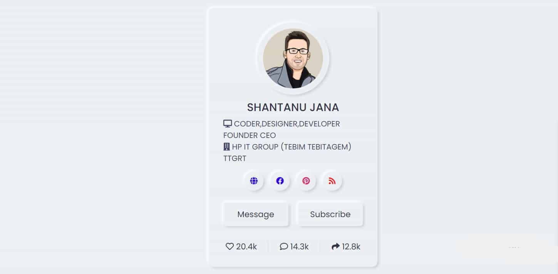 Neumorphism Profile Card UI Design using HTML & CSS