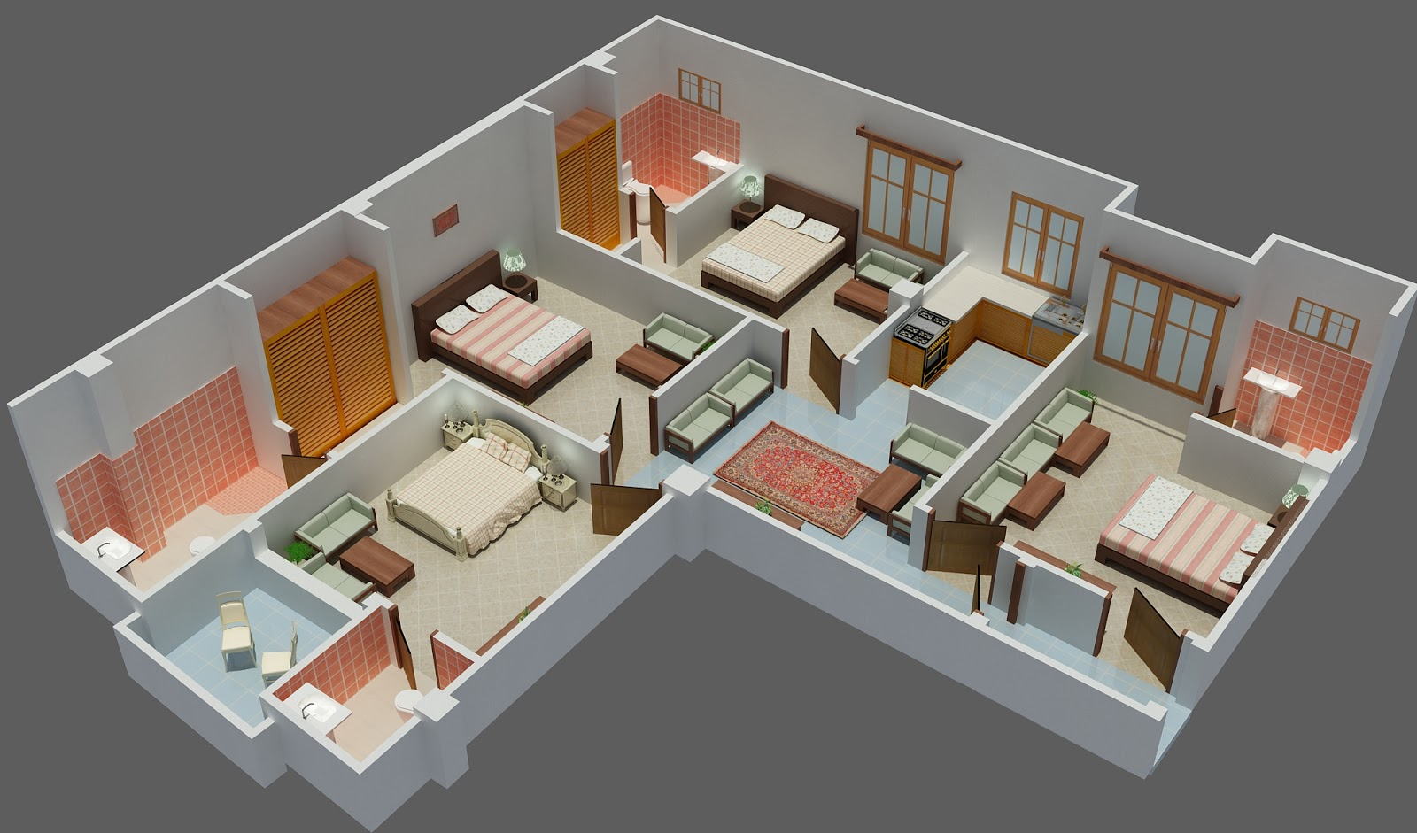 My 3d Projects 3d Floor Plan 3ds Max Corel Draw Photoshop