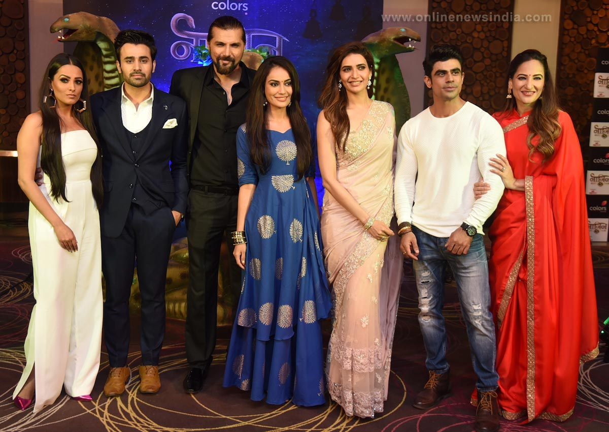 From left Anita Hassanandani, Pearl Puri, Chetan Hansraj, Surabhi Jyoti, Karishma Tanna, Ankit Mohan and Rakshanda Khan at the launch of COLORS' Naagin 3