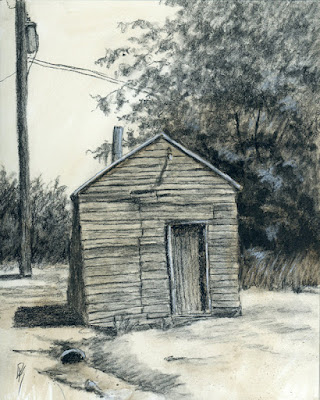 art charcoal sketch drawing abandoned shed rural rustic