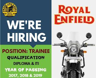 ITI And Diploma Jobs Walk In Interview For Royal Enfield Factory Oragadam,Tamil Nadu