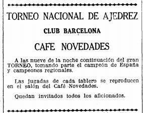 Recorte de La Vanguardia sobre el Torneo Nacional de Ajedrez Barcelona 1926, 17/9/1926
