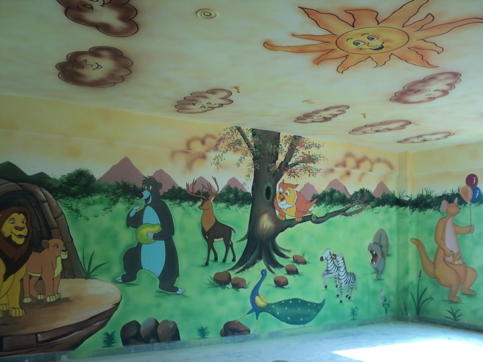 Play School Wall Painting 3d Cartoon Painting School Painting