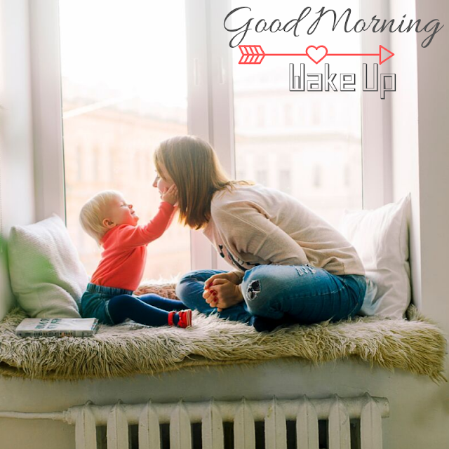 Cute Baby Girl with mother Good Morning Images
