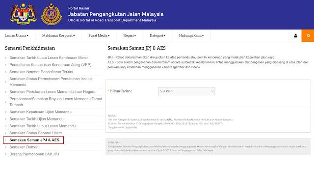 Menggunaakn Portal Jabatan Pengangkutan Jalan (JPJ)