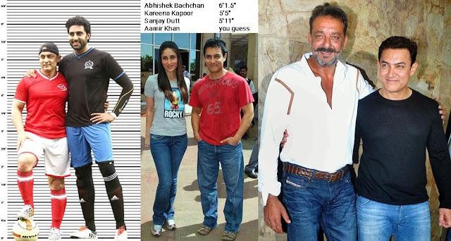 Aamir Khan height comparison with Abhishek Bachchan, Kareena Kapoor and Sanjay Dutt