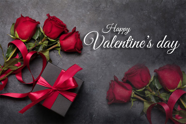 Valentine's Day red roses and gift Image