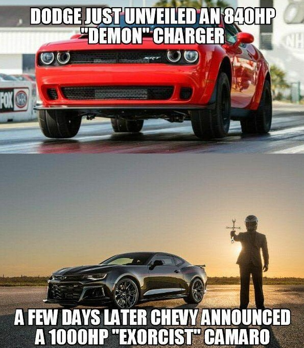 Muscle Car Collection Camaro Exorcist Vs Dodge Demon Memes