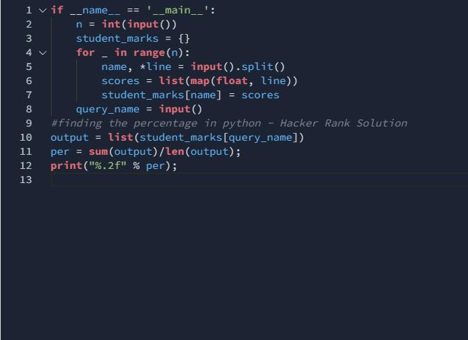 Python finding the percentage Hackerrank solution