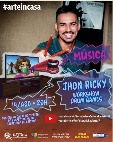 Jhon Ricky faz Workshow na live do Art In Casa nesta sexta, dia 14