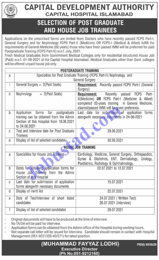 CDA Jobs 2021 - Capital Development Authority Hospital Jobs 2021 Latest Vacancies