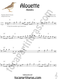Violonchelo y Fagot Partitura de Alouette (Alondra) Canción infantil Sheet Music for Cello and Bassoon Music Scores