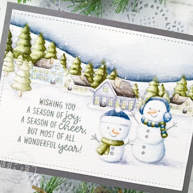 Sunny Studio Stamps: Winter Scenes Feeling Frosty Inside Greetings Winter Holiday Card by Ashley Ebben