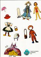 Бумажная кукла девочка Веселые картинки № 12 1981 год или куклу вырезную из него. Кукла в купальнике в красно-белую горизонтальную полосочку, а наряды у неё бальное платье с высоким париком, перчатками и веером, новогодний костюм красной шапочки с корзиночкой, костюм космонавта с сумочкой и костюм снегурочки с муфтой.
