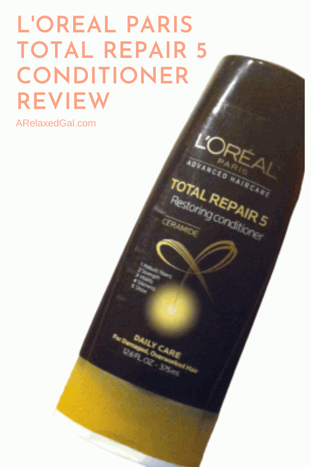 A review of L'Oreal Paris Ceramide Total Repair 5 Restoring Conditioner on relaxed hair. | A Relaxed Gal