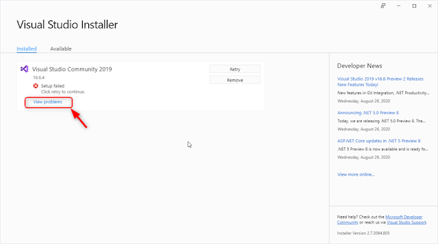 Visual Studio Installer - Setup Failed !