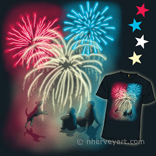 """Simple Celebration"" submission ""Simple Celebration"" digital art, people dog watching fireworks"