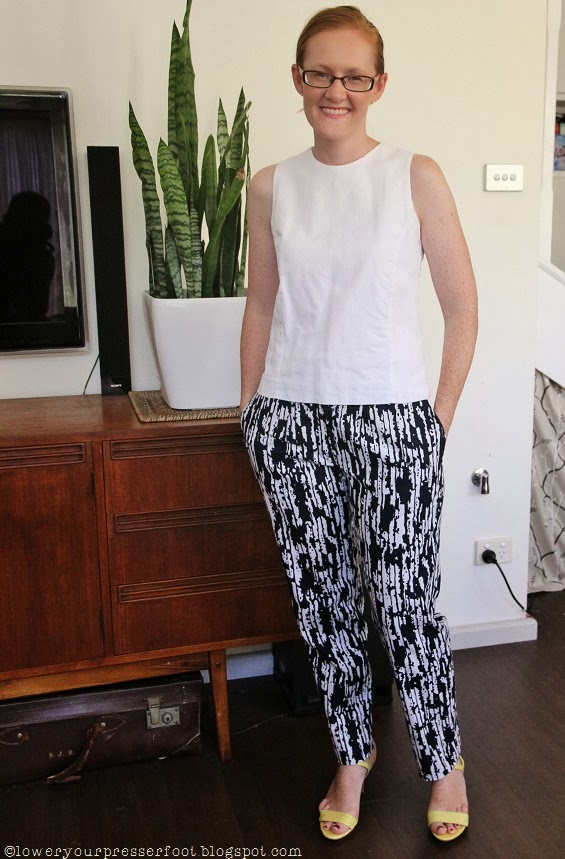blue and white graphic printed narrow pants