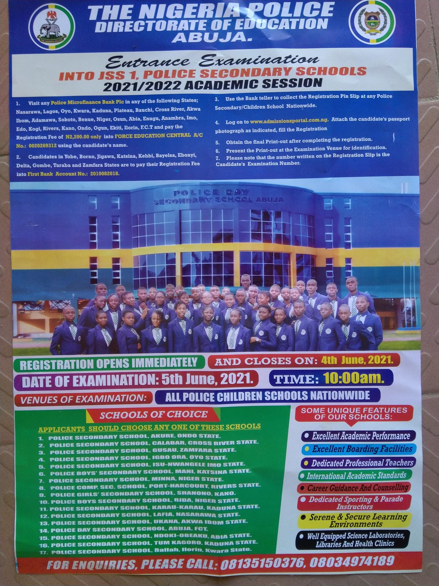 Nigeria Police Sec. Schools Admission Form into JSS1 2021/2022